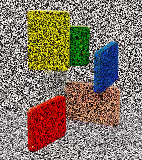Kunst, stærkt inspireret af terrazzo. Her fra www.itsnicethat.com